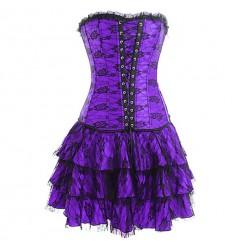 Robe corset courte avec tulle brodé Pompadour noir/violet