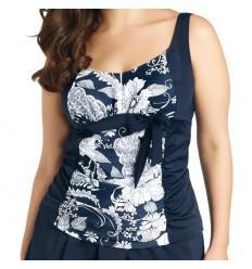 Tankini grande taille ajustable Elomi bleu à fleurs blanches
