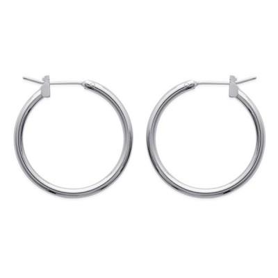 Boucles d'oreille créoles en argent rhodié 2cm