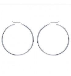 Boucles d'oreille créoles en argent rhodié 4cm