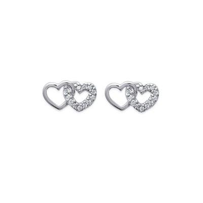 Boucles d'oreilles double cœur et strass en argent rhodié