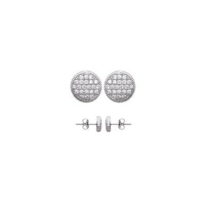 Boucles d'oreilles en argent rhodié et strass