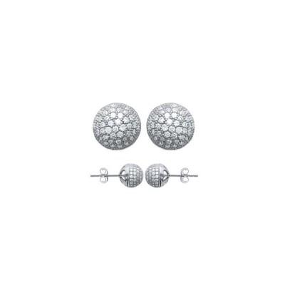 Boucles d'oreilles boules en argent rhodié et strass