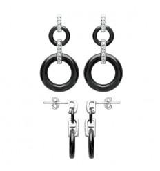 Boucles d'oreilles doubles cercles en argent céramique noire et strass