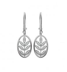 Boucles d'oreilles feuilles argent rhodié et strass