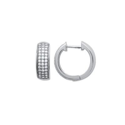 Boucles d'oreilles anneaux en argent rhodié et strass