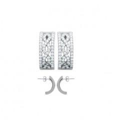 Boucles d'oreilles demi anneaux en argent rhodié et strass