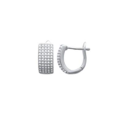 Boucles d'oreilles anneau intégral en argent rhodié et strass