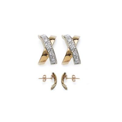 Boucles d'oreilles en croix arrondie plaquée or et strass