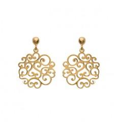 Boucles d'oreilles plaqué or avec décor style dentelle