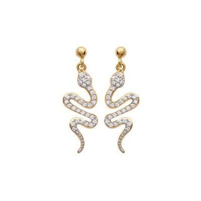 Boucles d'oreilles plaqué or serpents et strass