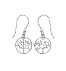 Boucles d'oreilles arbre de vie en argent rhodié