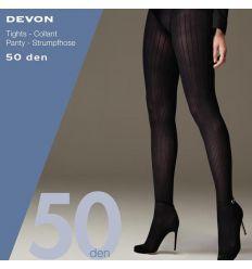 Collant côtelé opaque grande taille noir 50 deniers Cette Devon