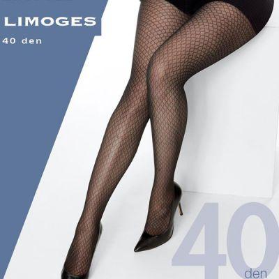 Collant semi-opaque grande taille motifs alvéolaires noir 40 deniers Cette Limoges