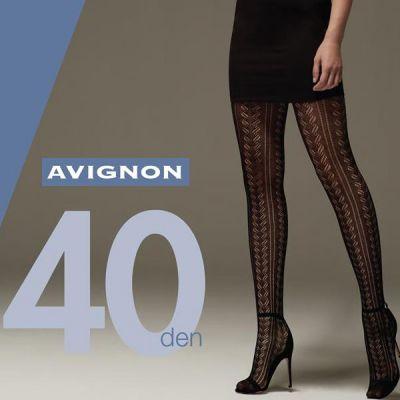 Collant opaque coton grande taille motifs ajourés noir 40 deniers Cette Avignon