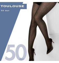 Collant opaque grande taille motifs géométriques noir 50 deniers Cette Toulouse