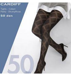 Collant opaque motifs losanges grande taille noir 50 deniers Cette Cardiff