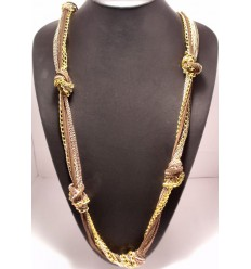 Collier tresse métal imitation cuir