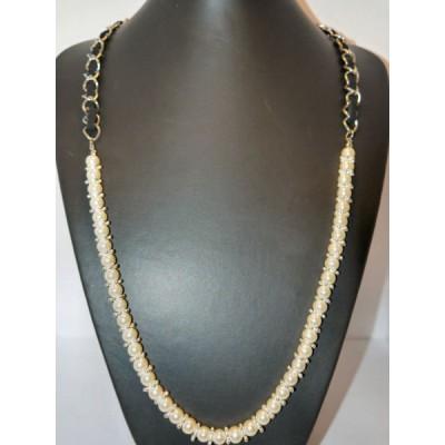 Collier perle coloris nacre argenté ou doré