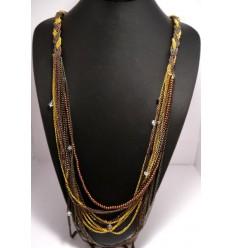 Collier multi tresse perles et strass