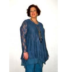 Tunique bleue dentelle