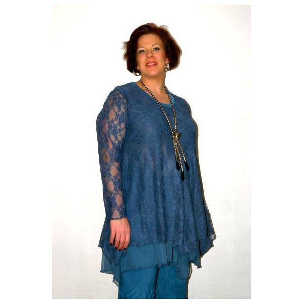 tunique grande taille manches longues bleue dentelle. Black Bedroom Furniture Sets. Home Design Ideas